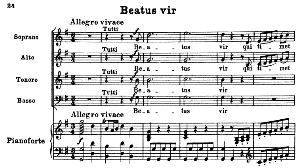 No.3 Beatus vir: Solo Quartet SATB , Choir SATB and Piano. Vesperae solennes de confessore K.339, W.A. Mozart. Vocal Score (J.A. Fuller Maitland) Ed. Breitkopf (1896). Latin. | eBooks | Sheet Music