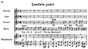 No.4 Laudate pueri: Choir SATB and Piano. Vesperae solennes de confessore K.339, W.A. Mozart. Vocal Score (J.A. Fuller Maitland) Ed. Breitkopf (1896). Latin. | eBooks | Sheet Music