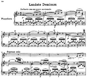 no.5 laudate dominum: soprano solo, choir satb, and piano. vesperae solennes de confessore k.339, w.a. mozart. vocal score (j.a. fuller maitland) ed. breitkopf (1896). latin.