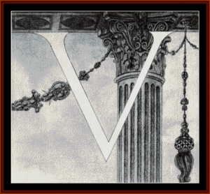 Design of Initial V - Beardsley cross stitch pattern by Cross Stitch Collectibles | Crafting | Cross-Stitch | Other