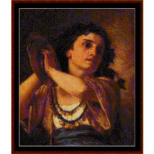 Bacchante, 1872 - Cassatt cross stitch pattern by Cross Stitch Collectibles | Crafting | Cross-Stitch | Wall Hangings