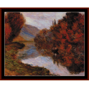 Rowboat on the Seine at Jeufosse - Monet cross stitch pattern at Cross Stitch Collectibles | Crafting | Cross-Stitch | Wall Hangings