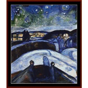 starry night, 1924 - munch cross stitch pattern by cross stitch collectibles