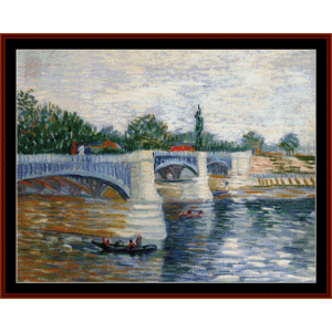 The Seine with the Pont de la Grand Jatte - Van Gogh cross stitch pattern by Cross Stitch Collectibles | Crafting | Cross-Stitch | Wall Hangings