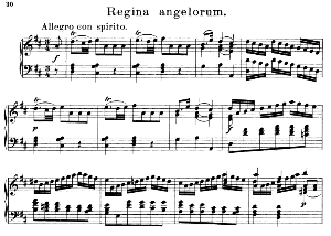 04 regina angelorum: solo quartet satb, choir satb and piano. litaniae lauretanae k.195, w.a. mozart. vocal score (hans sitt) ed. breitkopf (1886). latin.
