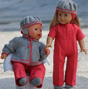 dollknittingpatterns - 0118d vanja- suit, jacket, hairband, socks and hat for american girl doll, hat for baby born (english)