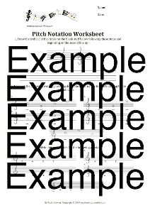 pitch notation worksheet (treble and bass clefs)