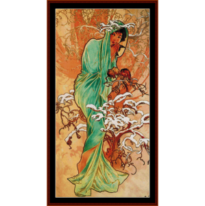 Winter 1896 - Mucha cross stitch pattern by Cross Stitch Collectibles | Crafting | Cross-Stitch | Wall Hangings