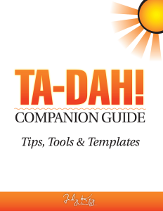 TA-DAH! Companion Guide; Tips, Tools & Templates | eBooks | Self Help