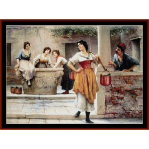 Flirtation at the Well - De Blass cross stitch pattern by Cross Stitch Collectibles | Crafting | Cross-Stitch | Wall Hangings