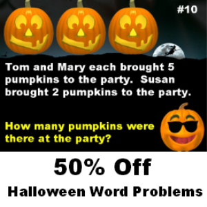 50% Off Halloween Math Word Problems | Documents and Forms | Templates