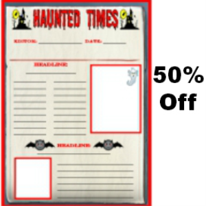 50% Off Haunted Times Halloween Newspaper | Documents and Forms | Templates