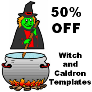 50% off witch and cauldron writing templates