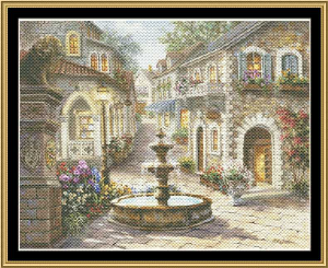 Cobblestone Fountain | Crafting | Cross-Stitch | Wall Hangings