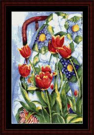 Tulips and Quilt cross stitch pattern by Cross Stitch Collectibles | Crafting | Cross-Stitch | Wall Hangings