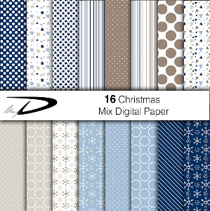 16 christmas digital paper set 2 - blue and brown shades