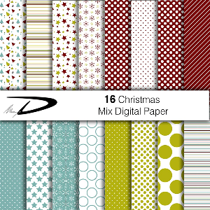 16 christmas digital paper set 2 - red and green shades