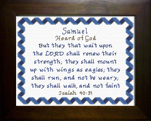 Name Blessings -  Samuel 3 | Crafting | Cross-Stitch | Religious