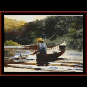 Boy Fishing - Homer cross stitch pattern by Cross Stitch Collectibles   Crafting   Cross-Stitch   Wall Hangings