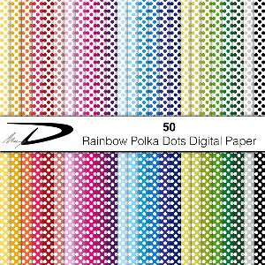 rainbow polka dots digital paper pack