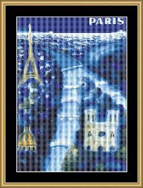 Paris Blue - Vintage Travel | Crafting | Cross-Stitch | Wall Hangings