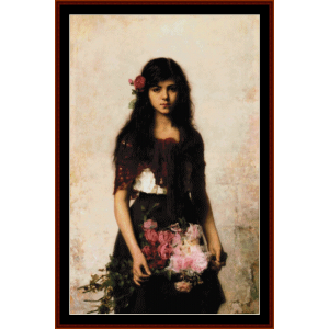 Flower Seller - Harlamoff cross stitch pattern download | Crafting | Cross-Stitch | Wall Hangings