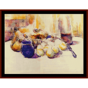 blue pot and wine bottle - cezanne cross stitch pattern by cross stitch collectibles