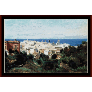 View of Genoa - Corot cross stitch pattern by Cross Stitch Collectibles | Crafting | Cross-Stitch | Wall Hangings