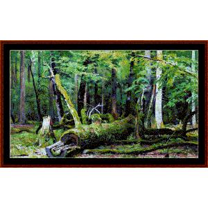 oak ini the bialowezka forest - shishkin cross stitch pattern by cross stitch collectibles