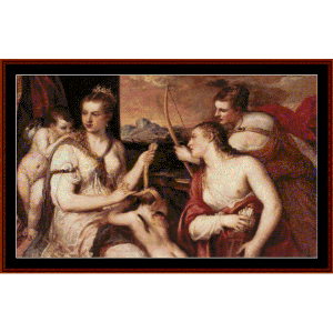 Venus Blindfolding Cupid - Titian cross stitch pattern by Cross Stitch Collectibles | Crafting | Cross-Stitch | Wall Hangings
