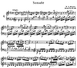 Sonata No.4, K.282 in E Flat Major. W.A. Mozart. Ed. Breitkopf Urtext (Unedited), Kalmus Reprint. | eBooks | Sheet Music