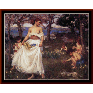 A Song of Spring, 1913 - Waterhouse cross stitch pattern by Cross Stitch Collectibles | Crafting | Cross-Stitch | Wall Hangings