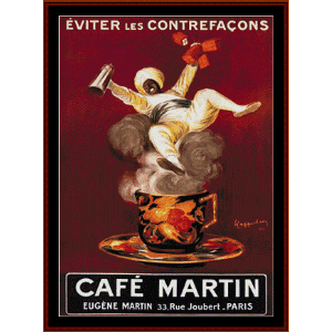 Cafe Martin - Vintage poster cross stitch pattern by Cross Stitch Collectibles | Crafting | Cross-Stitch | Wall Hangings