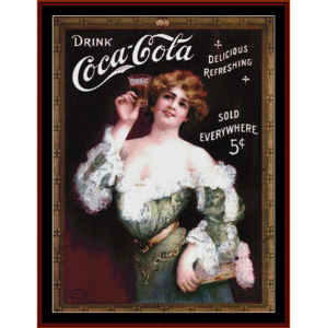 Coca Cola Lady in Green - Vintage poster cross stitch pattern by Cross Stitch Collectibles | Crafting | Cross-Stitch | Wall Hangings