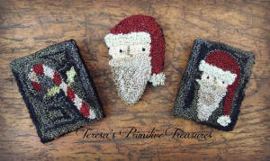 santa & candy cane punch needle pins