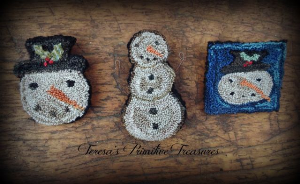 trio of snowmen punch needle pins