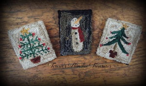 christmas trees & snowman punch needle pins