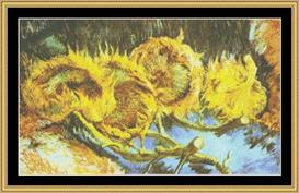 Four Cut Sunflowers - Van Gogh | Crafting | Cross-Stitch | Wall Hangings