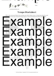 Tempo Crossword Worksheet | Music | Children