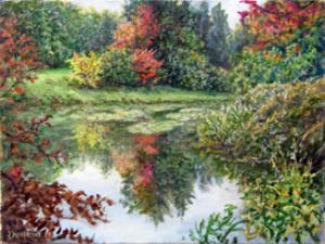 original painting, print, autimn pond