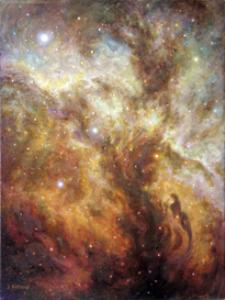 original painting, print, lagoon nebula