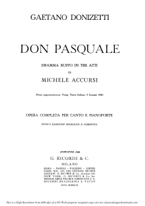 Ah, un foco insolito: Cavatina for Bass (Don Pasquale). G. Donizetti: Don Pasquale . Vocal Score, Ed. Ricordi (1870).PD. Italian | eBooks | Sheet Music