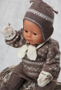 dollknittingpatterns -0120d theo - trui, lange broek, sokjes, muts, sjaal en wantjes