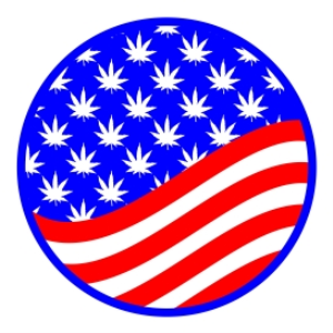 Red, White, and Blue Marijuana Leaf Circle | Photos and Images | Miscellaneous