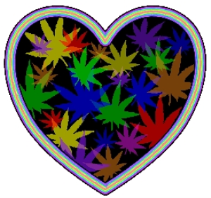 Colorful Marijuana Leaf Heart | Photos and Images | Miscellaneous