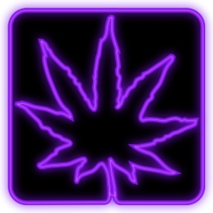 Neon Purple Mrijuana Leaf Square | Photos and Images | Miscellaneous