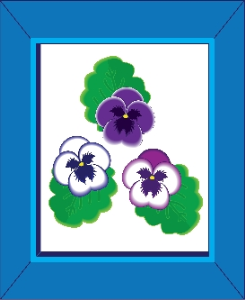 Pansies in a Blue Frame | Photos and Images | Miscellaneous