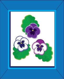 pansies in a blue frame