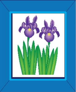 Purple Iris Flowers in a Blue Frame | Photos and Images | Miscellaneous