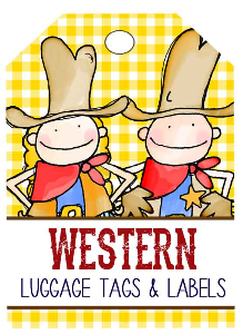 western - lables and luggage tags / you personalize